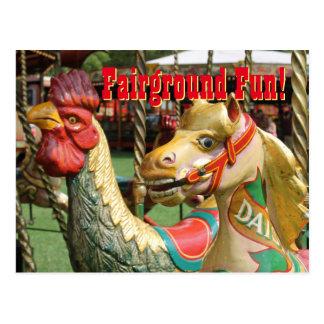 Rummelplatz-Spaß! Vintage Fahrten, Hahn und Pony Postkarte