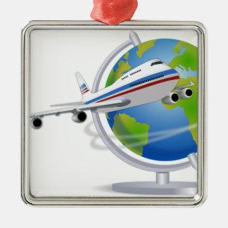 Rund um den Globus reisen Silbernes Ornament