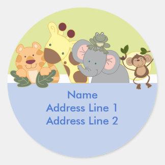 Runde Adressen-Etiketten - Dschungel-Safari Runder Aufkleber