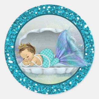 Runde Aufkleber 130 Baby-Meerjungfrau-Umschlag