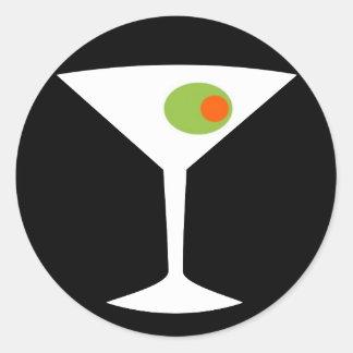 Runde Aufkleber klassischer Film-Martinis