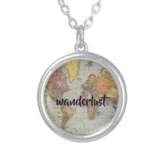 runde Halskette der Wanderlust-Weltkarte