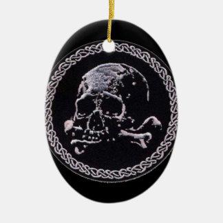 Runde Ikone des Vintagen Schädels Ovales Keramik Ornament
