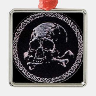 Runde Ikone des Vintagen Schädels Quadratisches Silberfarbenes Ornament