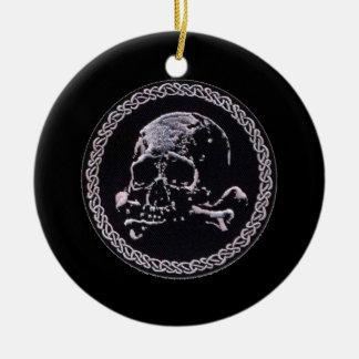 Runde Ikone des Vintagen Schädels Rundes Keramik Ornament