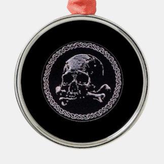 Runde Ikone des Vintagen Schädels Rundes Silberfarbenes Ornament