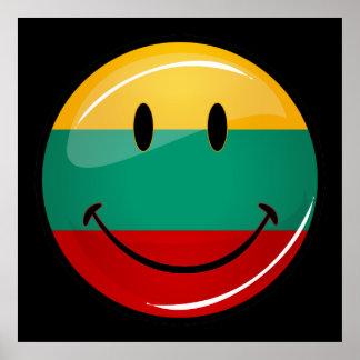 Runde lächelnde litauische Flagge Poster