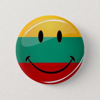 Runde lächelnde litauische Flagge Runder Button 5,7 Cm