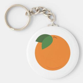 Runde Orange Standard Runder Schlüsselanhänger