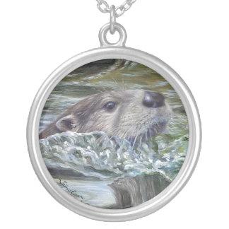 Runde Otter-Halskette Versilberte Kette