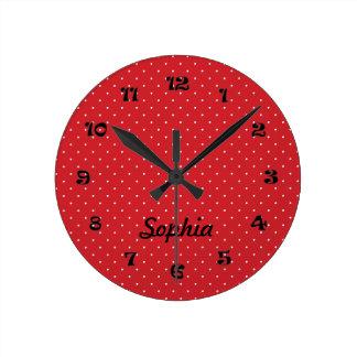 Runde rote und weiße Tupfen-Uhr Runde Wanduhr