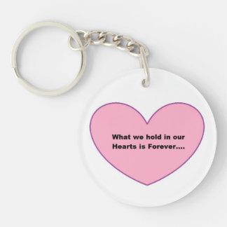 Runde Schlüsselkette mit einem rosa Herzen und Beidseitiger Runder Acryl Schlüsselanhänger