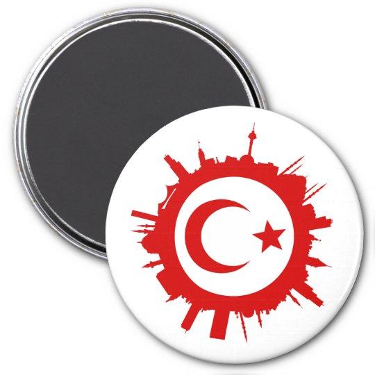 runde Skyline Istanbul Runder Magnet 7,6 Cm