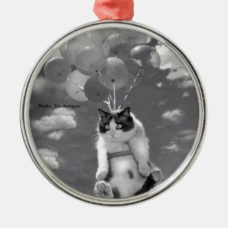 Runde Verzierung: Lustiges Katzenfliegen mit Silbernes Ornament