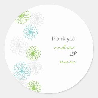 Runden die Blumenreflexionen danken Ihnen Runder Aufkleber