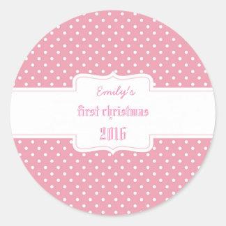 Runder Aufkleber für das erste Weihnachten der