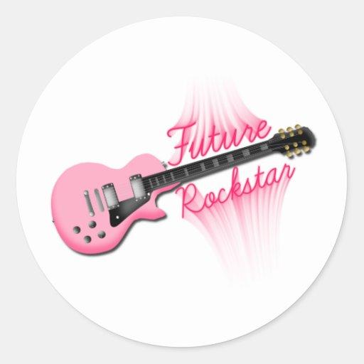 Runder Aufkleber zukünftiger Rockstar rosa Gitarre