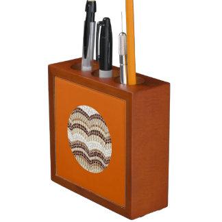 Runder beige Mosaik-Schreibtisch-Organisator Stifthalter