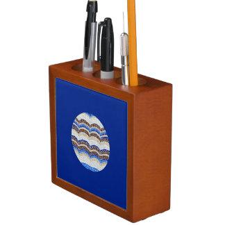 Runder blauer Mosaik-Schreibtisch-Organisator Stifthalter