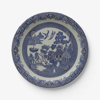 Runder blauer Weide-Teller hergestellt vom Papier: Pappteller
