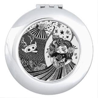Runder kompakter Spiegel-Geschöpf-Fee-Engel Schminkspiegel