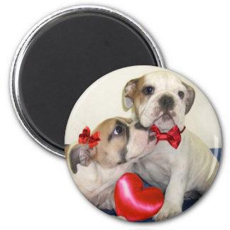Runder Magnet der Liebe-Bulldoggen