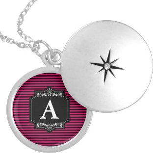 Runder Medaillon Silber Streifen Pink Monogramm