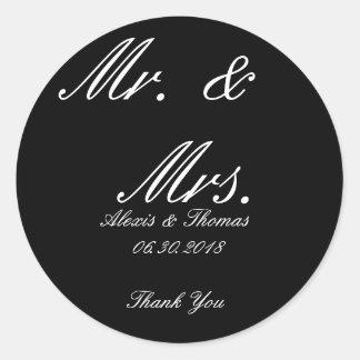 Runder Schwarzweiss-Herr u. Frau Wedding Stickers