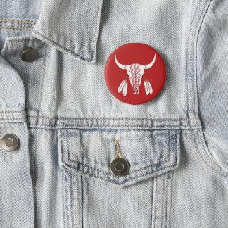 Runder Standardknopf des roten Geist-Tanz-Büffels Runder Button 5,7 Cm