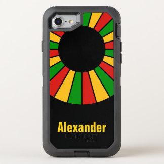 Runder Strahln-Rahmen Rastafari + Ihr backgr. u. OtterBox Defender iPhone 8/7 Hülle