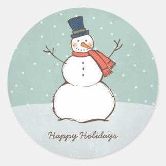 Runder Winter-Schneemann des Feiertags-Aufkleber-| Runder Aufkleber