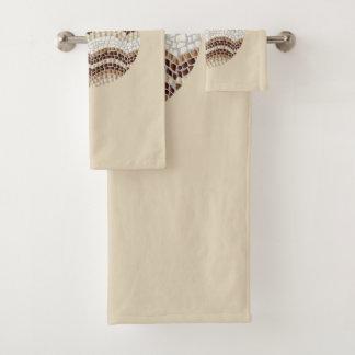 Rundes beige Mosaik-Badezimmer-Tuch-Set Badhandtuch Set