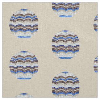 Rundes blaues Mosaik-Elfenbein-Leinen-Gewebe Stoff