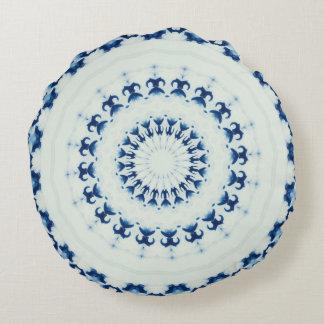 Round Blue White Throw Pillow