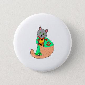 Rundes Blech mit Zeichnung der Katze Runder Button 5,7 Cm
