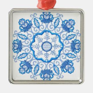 Rundes Blumen-Bild Silbernes Ornament