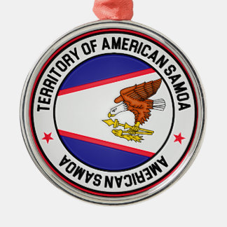 Rundes Emblem American Samoa Silbernes Ornament