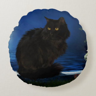 Rundes Kissen Black-Cat