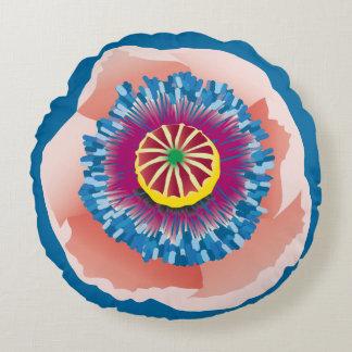 Rundes Kissen der rosa Mohnblume