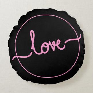 Rundes Kissen des Logo-Liebe-Polyester