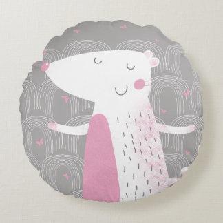Rundes Kissen, niedliche Maus (rosa Akzent) Rundes Kissen