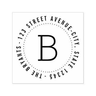 Rundes Monogramm-personalisierte GummiBriefmarke Permastempel