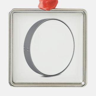 Rundes Schild Quadratisches Silberfarbenes Ornament
