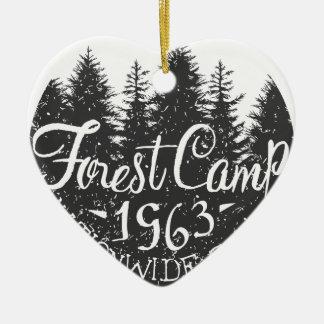 Rundes Waldlager Vintag Keramik Herz-Ornament