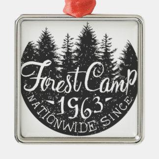 Rundes Waldlager Vintag Quadratisches Silberfarbenes Ornament