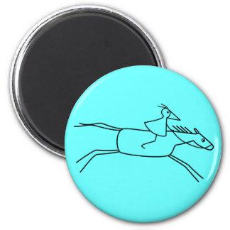 RUNNY-Reiter MIT Pferd Runder Magnet 5,7 Cm