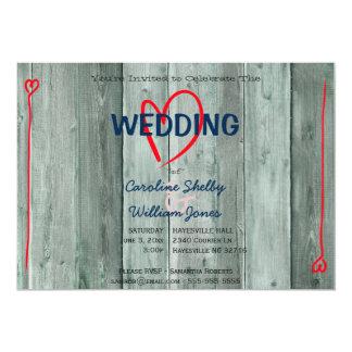 Rusitc rotes Herz und Holz-Hochzeits-Einladung Karte