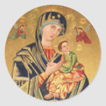 Russian Orthodox Icon - Virgin Mary and baby Jesus Round Stickers
