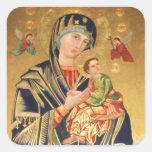 Russische orthodoxe Ikone - Jungfrau Mary und Baby Quadratsticker