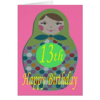 Russische Puppen-glücklicher 13. Geburtstag Karte